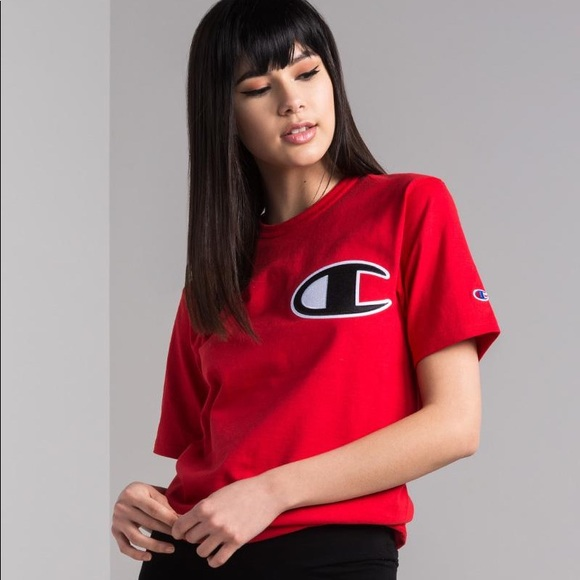 738331dab Champion Tops | Womens Big C Patch Heritage Tee Red | Poshmark